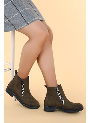 Ayakland Ayakland N901-07 Süet Termo Taban Kadın Bot Ayakkabı Haki